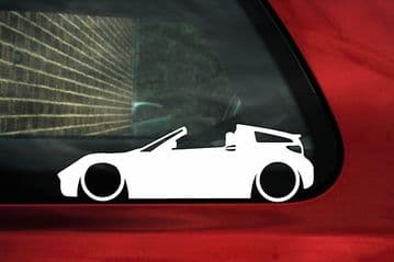 2x LOW, lowered, Smart Roadster Coupe car silhouette outline stickers / Decals