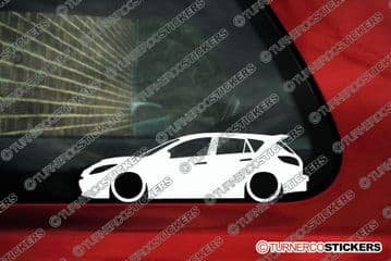2x LOW Mazda 3 Mazdaspeed MZR (2010-2013) lowered car outline stickers, Decals