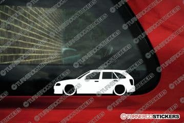 2x LOW Mazda 323 Protege hatchback (BJ, 1998-2001)  lowered car outline stickers, Decals