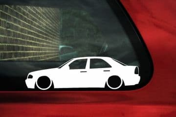2x LOW Mercedes, C-Class W202 saloon, outline silhouette stickers ,Decals, c230,kompressor,AMG,c220