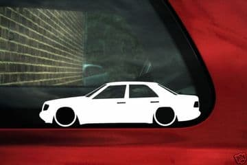 2x LOW Mercedes w124 320e,220, 300,E60 AMG ,e500 silhouette outline stickers / Decals
