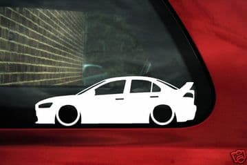 2x LOW Mitsubishi lancer Evo 10 evolution outline Silhouette stickers,Decals