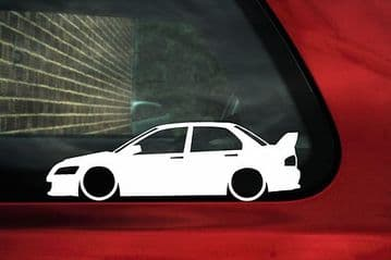 2x LOW Mitsubishi lancer Evo 7, 8,9 evolution outline stickers, Decals