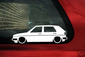 2x LOW Mk2 Golf 5 DOOR GTi 8v / 16v, small bumper, outline , silhouette stickers ,Decals