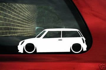 2x LOW New BMW Mini Cooper S R53, works, one Outline car silhouette stickers, decals