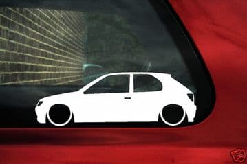 2x LOW Peugeot 306 2 3 door XSi, D-turbo S, GTI-6, S16 16v outline stickers