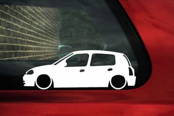 2x LOW Renault Clio mk2 Pre-facelift,5-Door outline silhouette stickers / Decals