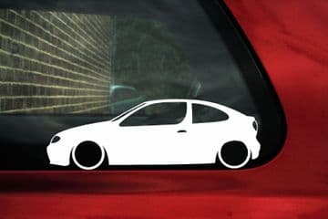 2x LOW Renault Megane Coupe 16v (Mk1) Outline , Silhouette stickers / Decals