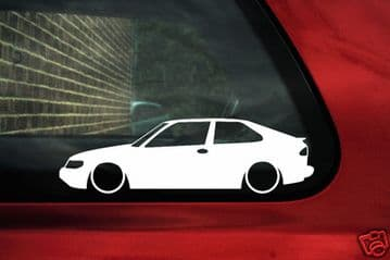 2x LOW Saab 93 / 9-3 turbo, viggen outline , Silhouette stickers, Decals