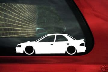 2x LOW Subaru impreza WRX STi 1st Gen (small spoiler) outline,silhouette sticker