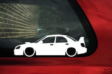2x LOW Subaru impreza WRX STi (2nd gen facelift) outline ,silhouette stickers,