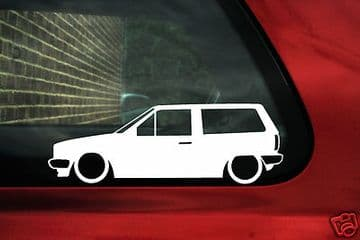 2x LOW VW Polo Mk2 squareback, volkswagen wagon, outline, Silhouette,stickers ,Decals