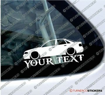 2x Lowered Audi A4 ( B5 ) S4 sedan CUSTOM TEXT car silhouette stickers