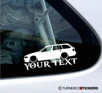 2x Lowered BMW E39 530i, 530d 5-Series Touring wagon CUSTOM TEXT silhouette stickers