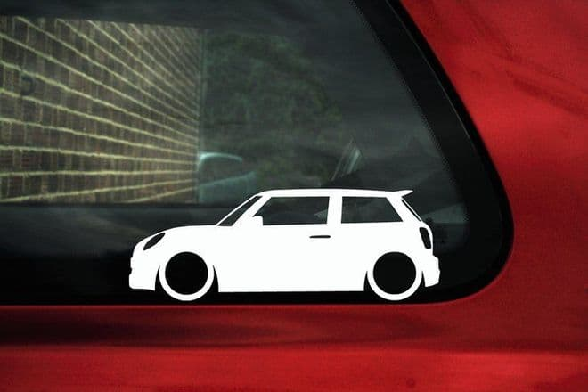 2x Lowered BMW Mini F56 Cooper S, works, Outline silhouette stickers, decals