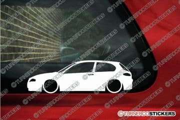 2X Lowered car outline stickers - for Alfa Romeo 147 (2000 - 2004) 3-DOOR L1421