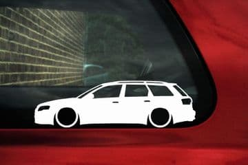 2x Lowered car outline stickers - for Audi A4 (B7) AVANT RS4 Wagon VAG L352