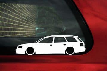 2x Lowered car outline stickers - for Audi A6 / RS6 (C5) Avant,wagon VAG L746