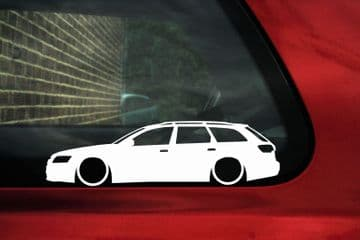 2x Lowered car outline stickers - for Audi A6 / RS6 (C6) Avant, wagon VAG L747
