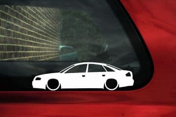 2x Lowered car outline stickers - for Audi A6 / S6 (C5) Sedan VAG L748