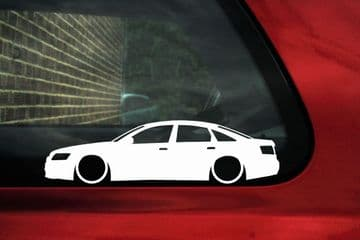 2x Lowered car outline stickers - for Audi A6 / S6 (C6) Sedan VAG L749