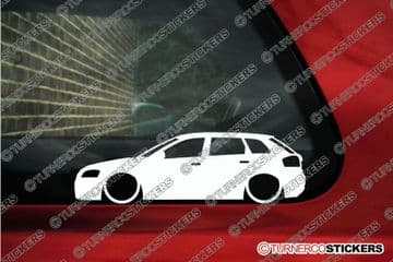 2x Lowered car outline stickers - for Audi S3 / A3 (8P) Sportback L754