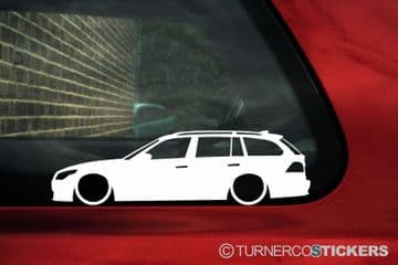 2X Lowered car outline stickers for Bmw E61 5-series m5 Touring Wagon 535d L366