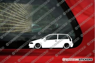 2x Lowered car outline stickers - for Fiat Punto 1993-1999 (176) 3-door GT