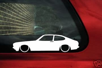 2x Lowered car outline stickers - for Ford Capri mk3 Laser ,3.0 (Euro) classic L276