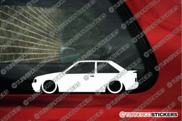 2x Lowered car outline stickers for Ford Escort mk4 RS Turbo | XR3i classic L420