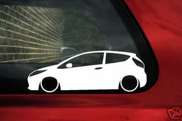 2x Lowered car outline stickers - for Ford Fiesta ST hatch (MK7, 2008+) L198