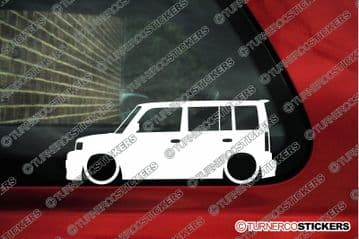 2x Lowered car outline stickers for Toyota bB wagon (2004-2007) 1st gen L1317