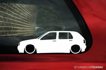 2x Lowered car outline stickers - for Volkswagen Mk3 Golf (5-DOOR) GTI 16v / VR6 VW