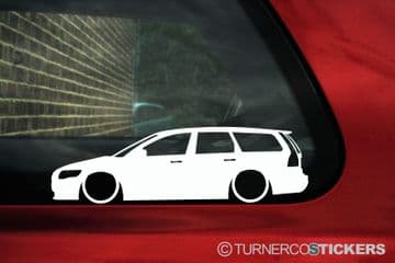 2X Lowered car outline stickers for Volvo V50 station wagon, 2nd Gen L329