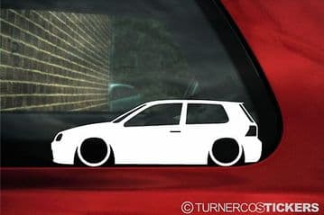 2x Lowered car outline stickers - for VW GOLF MK4 R32 / GTi , 3-DOOR | L50