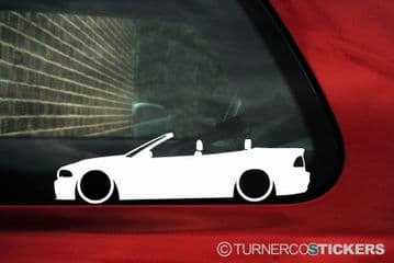 2X Lowered car silhouette stickers - for Bmw M3 E46 3-series convertible L212