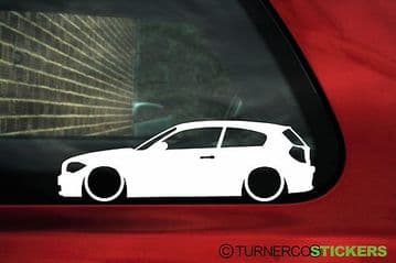 2X Lowered car stickers - for Bmw 1-series E81 3-Door 120i ,135i 125i L37
