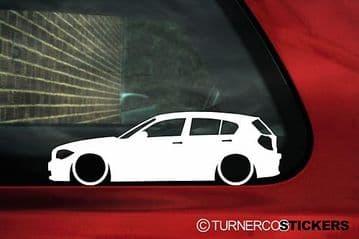 2X Lowered car stickers - for Bmw 1-series E87 5-Door 120i ,135i 125i L38