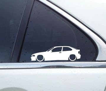 2X Lowered car stickers - for Bmw E36 3-series Compact 323ti 318ti L1597