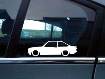 2x Lowered car stickers - for Ford Escort mk2 (1974+) classic, retro L417