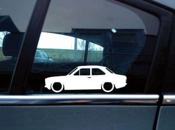 2x Lowered classic car stickers - for Ford Escort mk1 (1968-1974) 2-door L416