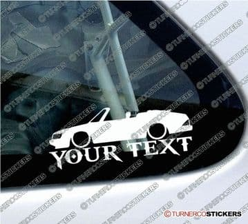 2x Lowered Classic Saab 900 Convertible  CUSTOM TEXT car silhouette stickers