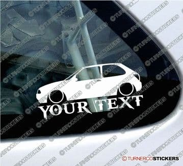 2x Lowered Ford Fiesta Mk4 (3-door) 1995-1999 CUSTOM TEXT car silhouette stickers