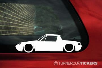 2X Lowered Karmann / Porsche 914 classic Low car outline STICKERS decal