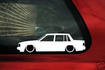 2X Lowered low car outline stickers - for Volvo 740 turbo Sedan | classic L634