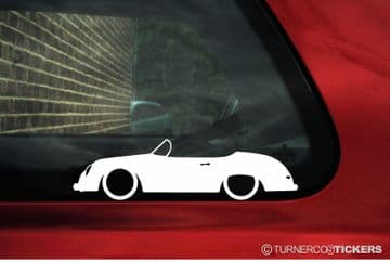 2X Lowered Porsche 356 Speedster / Cabriolet classic Low car outline STICKERS decal