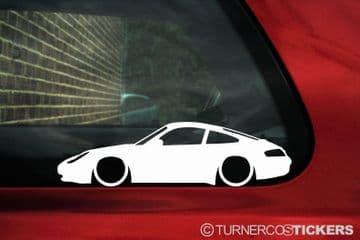 2X Lowered Porsche 911 (996) carrera low sports car outline STICKERS decal