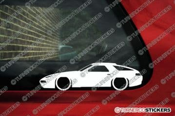 2X Lowered Porsche 928 low classic car outline STICKERS decal