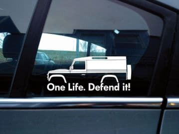 2x 'One Life Defend it! silhouette stickers for Land Rover Defender 110  van | classic