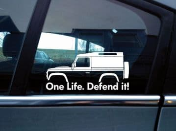 2x 'One Life Defend it! silhouette stickers for Land Rover Defender 90 van | classic